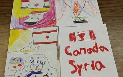 Cards welcoming Syrian refugees created by students at Paul Penna Downtown Jewish Day School in Toronto, December 2015. (Courtesy)