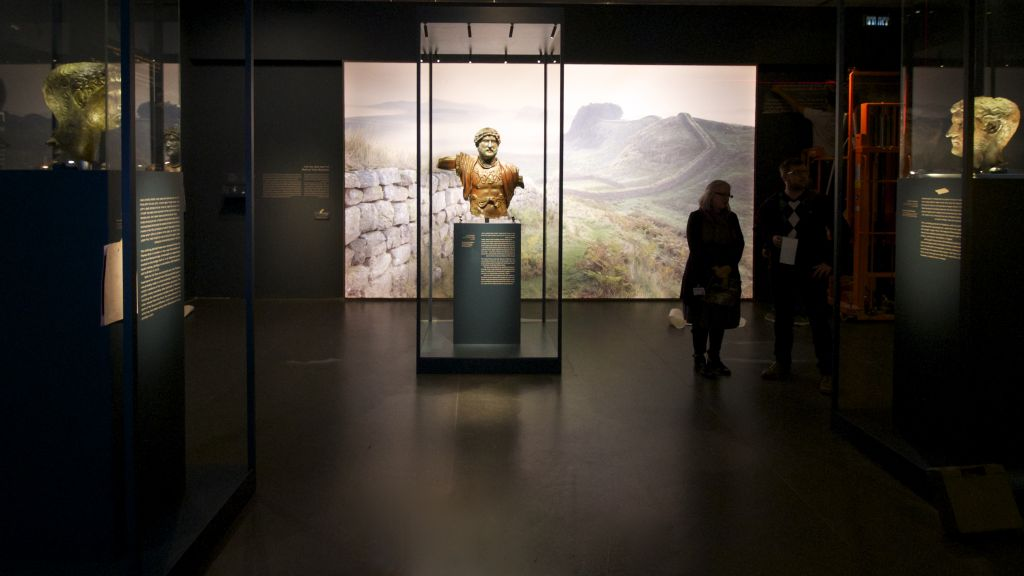 Three bronzes statue of Roman Emperor Hadrian at an Israel Museum exhibit opening December 22, 2015. (Moti Tufeld)