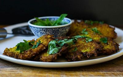 Indian-Spiced Cauliflower Latkes with Cilantro Chutney (Samantha Ferraro/via JTA)