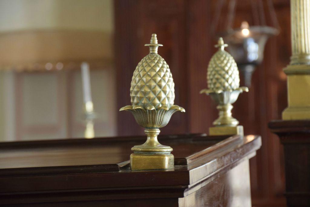 Inside the historic Barbados Nidhe Israel Synagogue (Ze'ev Portner/The Times of Israel)