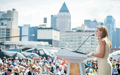 Susan Marenoff-Zausner, President of the Intrepid Sea, Air & Space Museum, speaks during the 70th Former Crew Member Reunion. (JP Teutonico)