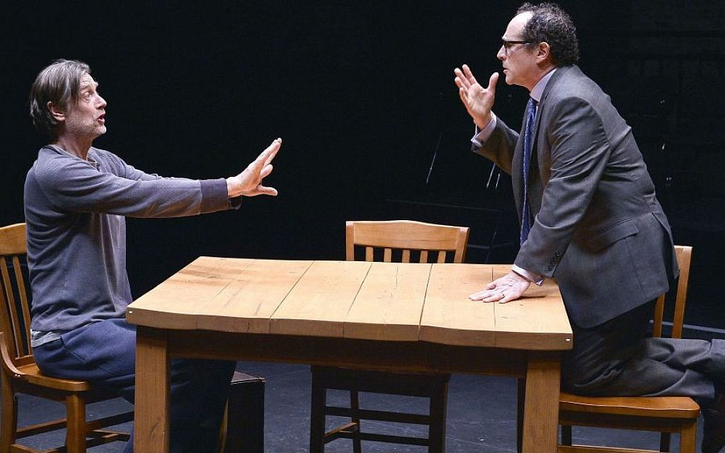 Ken Cheeseman (left) and Jeremiah Kissel in an Israeli Stage production of 'Ulysses on Bottles' (Paul Marotta)