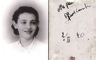"""This undated picture provided by Akira Kitade from an album owned by Tatsuo Osako, a former colleague of Kitade's at the Japan Tourist Bureau, shows a woman identified as """"refugee04"""" and an accompanying message on the back in Polish dated Oct. 2, 1940 reading, """"remember me."""" (Akira Kitade via AP)"""