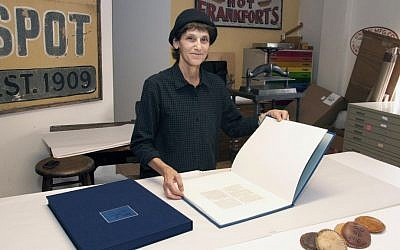 Judith Ivry, a bookbinder who specializes in old-world techniques, worked on the book for the Pope. (Kleinman Holocaust Education Center)