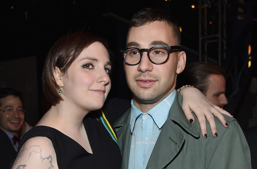 Lena Dunham and boyfriend Jack Antonoff, guitarist for the band Fun!, attending the 'Girls' season 4 series premiere after party at The Museum of Natural History in New York City, January 5, 2015. (Jamie McCarthy/Getty Images/JTA)