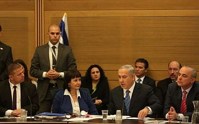 File: Prime Minister Benjamin Netanyahu defends the controversial gas deal in the Knesset Economic Affairs Committee on December 8, 2015 (Knesset spokesman)