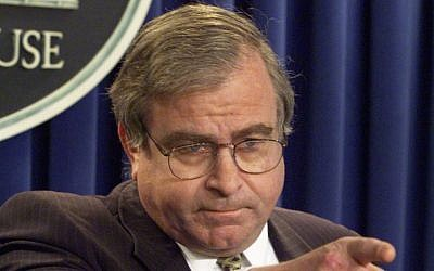 In this March 25, 1999 file photo, then-National Security Adviser Sandy Berger answers questions in the White House briefing room in Washington. Berger, who helped craft President Bill Clinton's foreign policy and got in trouble over destroying classified documents, died Wednesday at age 70. (AP/Ron Edmonds)