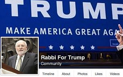 "The ""Rabbi for Trump"" Facebook page. (Screenshot from Facebook)"