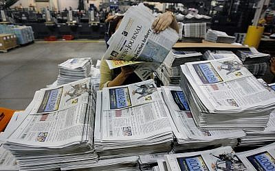 Illustrative photos of newspapers at the Las Vegas Review-Journal in Las Vegas on March 31, 2006.  (AP/Jae C. Hong, File)