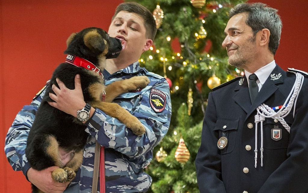 A Russian police officer holds a puppy, named Dobrynya, as a French police officer smiles before presenting the puppy to French police in the French Embassy in Moscow, Russia, Monday, December 7, 2015. (AP/Pavel Golovkin)