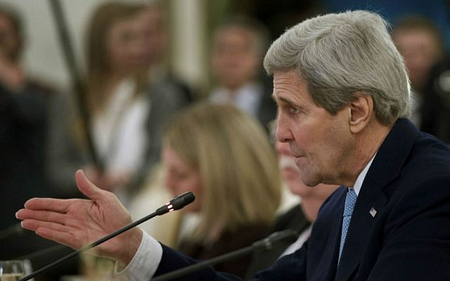 File: US Secretary of State John Kerry speaks during a meeting with Russian Foreign Minister Sergey Lavrov in Moscow Tuesday, Dec. 15, 2015. (AP Photo/Ivan Sekretarev)