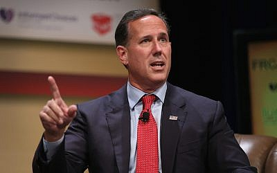 Republican presidential candidate and former Pennsylvania Senator Rick Santorum fields questions at The Family Leadership Summit at Stephens Auditorium on July 18, 2015 in Ames, Iowa. (Scott Olson/Getty Images via JTA)