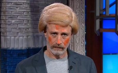 Jon Stewart impersonates Donald Trump on 'The Late Show with Stephen Colbert,' December 10, 2015 (YouTube screenshot)