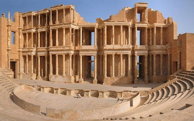 The Roman theater at Sabratha, in Libya (CC BY-SA Marku1988, via Wikimedia Commons)