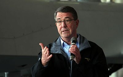 US Defense Secretary Ash Carter addresses American troops at the Incirlik Air Base near Adana, Turkey, Tuesday, Dec. 15, 2015. (AP Photo)