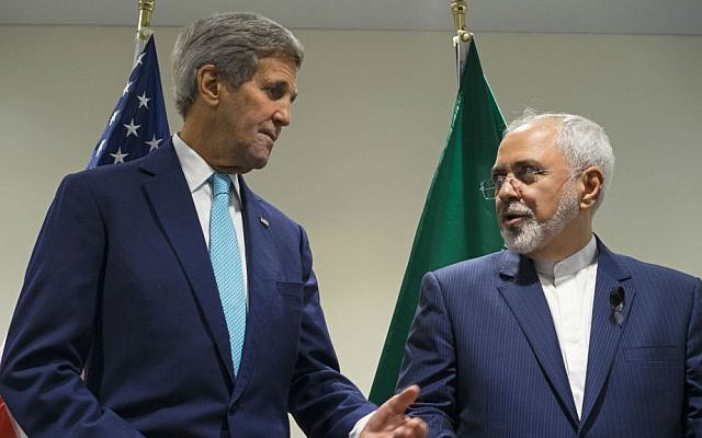 In this Sept. 26, 2015 file photo, Secretary of State John Kerry meets with Iranian Foreign Minister Mohammad Javad Zarif at United Nations headquarters. (AP Photo/Craig Ruttle, File)