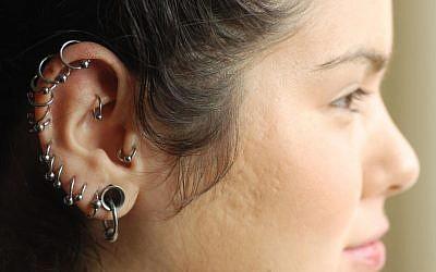Illustrative photo of a decorated earlobe. (Nati Shohat/Flash90)
