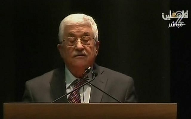 Palestinian Authority President Mahmoud Abbas speaks at the Red Cross offices in the West Bank on December 14, 2015 (screen capture: Channel 2)