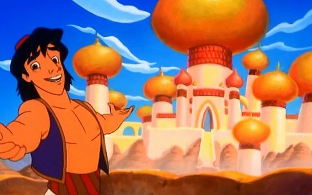 Disney's Aladdin, with the fictional city of Agrabah in the background (Screen capture/YouTube)