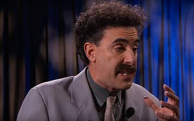 Sacha Baron Cohen as Borat Sagdiyev on' Jimmy Kimmel Live' on December 9, 2015. (screen capture: YouTube)