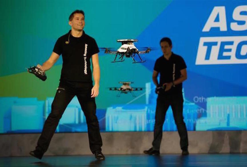 Drones avoid Intel personnel on stage at the Intel Developer Forum, August 18, 2015 (Intel)