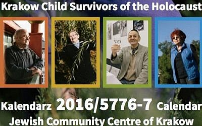 The portraits of 12 Polish Holocaust survivors are featured on a 2016 calendar put out on December 10, 2015, by the JCC Krakow in cooperation with the Child Survivors of the Holocaust Association. (screen capture: JCC Krakow)