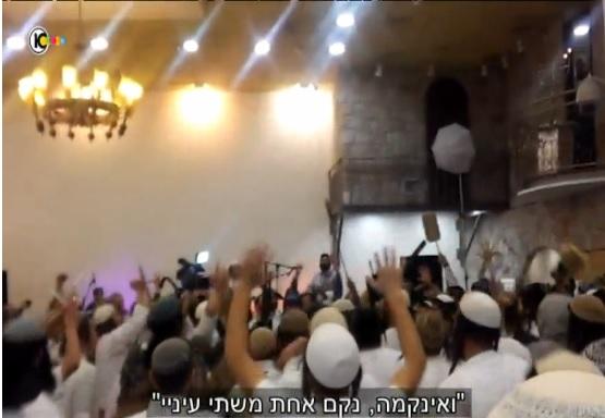 Far-right Israeli wedding-goers celebrate the killings of the Dawabsha family (screen capture: Channel 10)