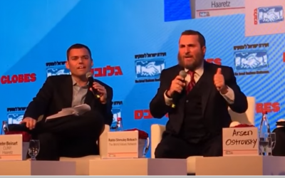 Peter Beinart, left, and Shmuley Boteach debate in Tel Aviv on December 6, 2015 (YouTube)