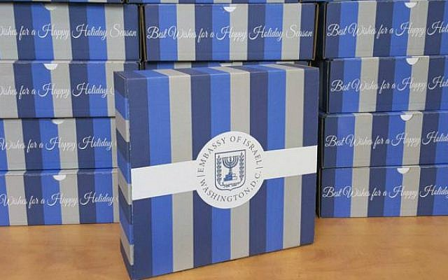 Gift boxes of West Bank and Golan Heights products sent out by Israel's embassy in Washington, December 2015. (Twitter screen capture)