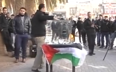 Home rebuilding campaign in central Nablus on Dec. 6, 2015 (screen capture: Palestinian Authority TV)