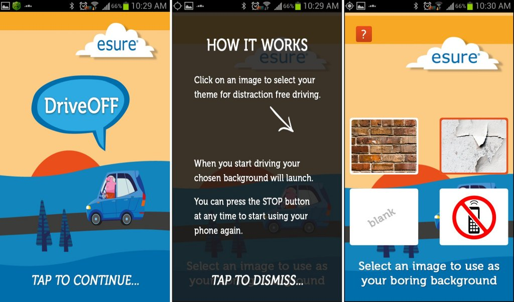 Screenshot of DriveOff, a digital nudging app that shuts off texting privileges for drivers when in motion (Courtesy)