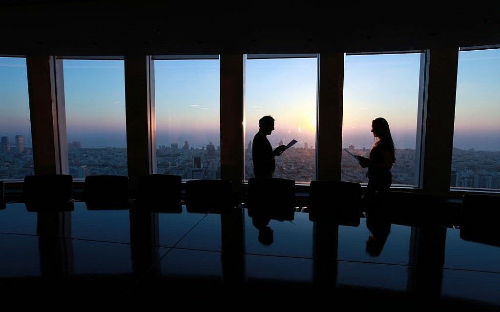 View from offices within the Azrieli towers of Tel Aviv in 2010. (Nati Shohat/Flash90)