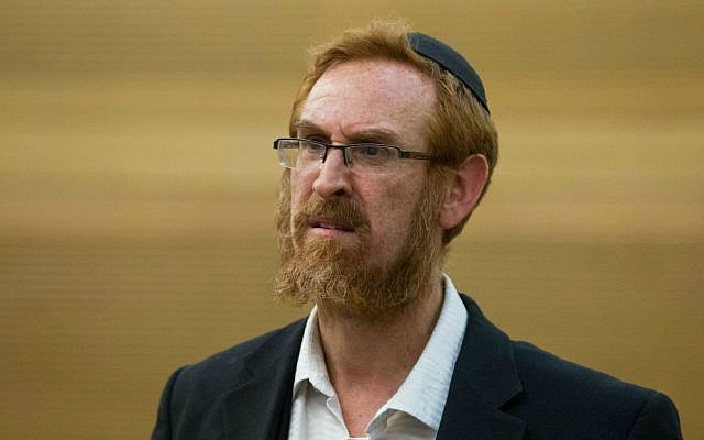 Temple Mount activist Yehuda Glick at a Likud faction meeting in the Knesset, October 19, 2015 (Miriam Alster/Flash90)