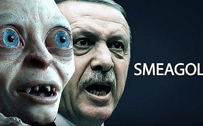 'Lord of the Rings' character Gollum and Turkish President Recep Tayyip Erdoğan (screenshot: YouTube)