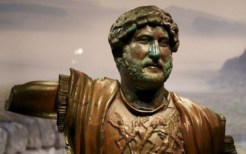 A bronze statue of Roman Emperor Hadrian from Tel Shalem, in northern Israel, at an Israel Museum exhibit opening December 22, 2015. (Moti Tufeld)