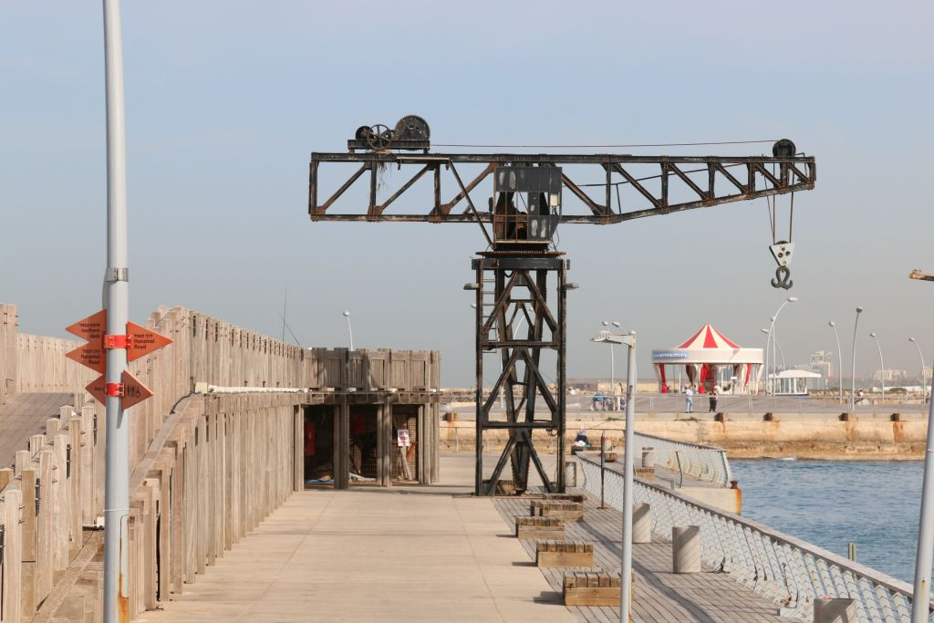The restored hammerhead crane at Tel Aviv Port (Shmuel Bar-Am)