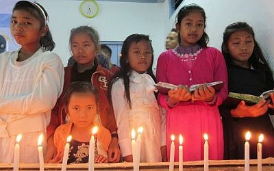 Members of the Bnei Menashe Jewish community from across northeastern India gathering in Churachandpur, in the Indian state of Manipur, to celebrate Hanukkah, Dec. 8, 2015. (Shavei Israel)