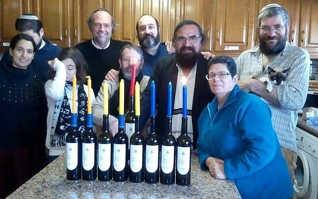 A Portuguese family celebrating the holiday earlier this week in Belmonte, home to the country's remaining population of Marrano Jews. (Shavei Israel)