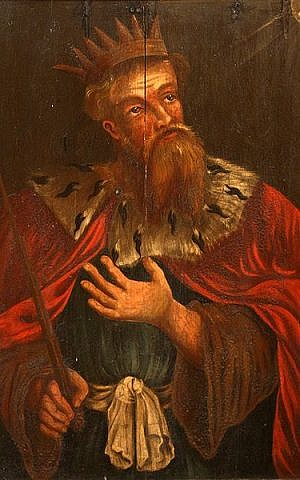 King Hezekiah on a 17th century painting by unknown artist in the choir of Sankta Maria kyrka in Åhus, Sweden (Wikipedia)