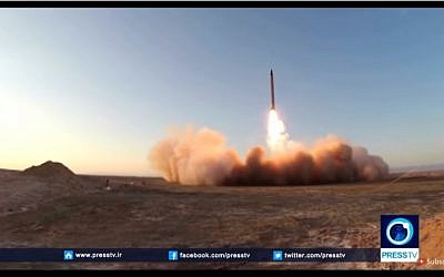Iran's test launch of the Emad long-range ballistic missile on October 11, 2015. (YouTube Screenshot: Press TV)