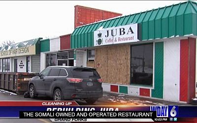 Juba Cafe in Grand Forks, North Dakota, the target of suspected racist graffiti and firebombing, December 2015. (screen capture: WDAZ broadcast)