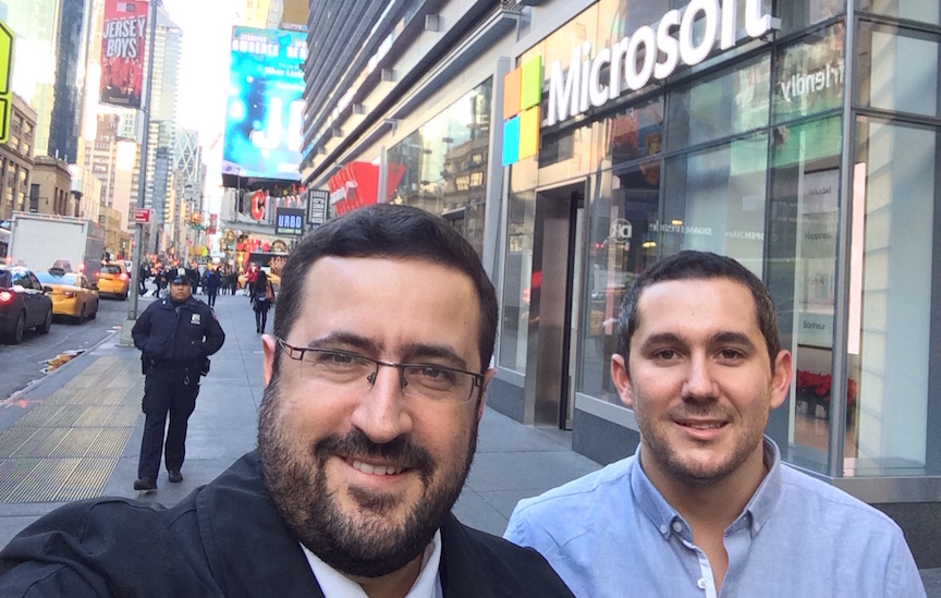 Moshe Freidman (L) with investor David Eitan outside the Microsoft Technology Center in Times Square (Courtesy)