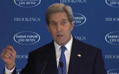 Secretary of State John Kerry addresses the Brookings Institution's annual Saban Forum on December 5, 2015 (YouTube screen capture)