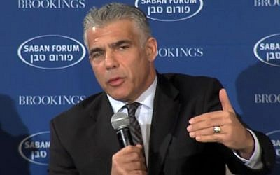 Yesh Atid leader MK Yair Lapid speaking at the Brookings Institution's Saban Forum in Washington, DC, Saturday, December 5, 2015 (Youtube screen capture)