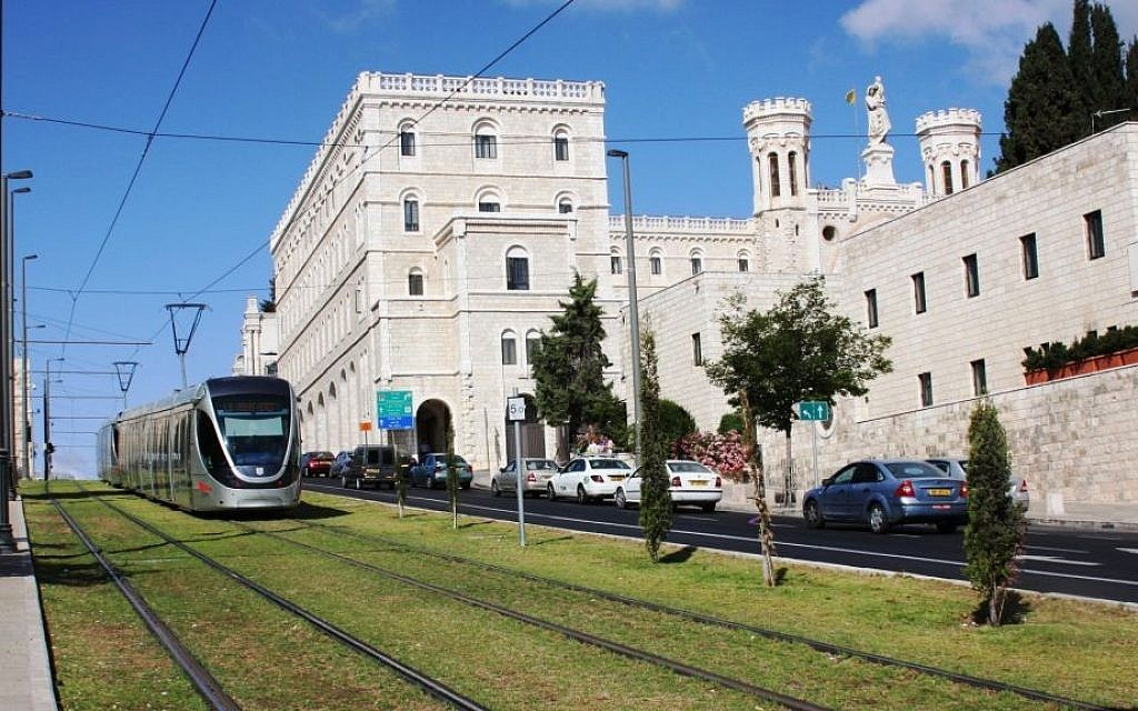 Jerusalem's light rail as it passes outside Notre Dama (Shmuel Bar-Am)
