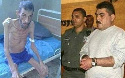 Side by side photos of an emaciated Syrian in an Assad-regime prison next to the paunchy looking Samir Kuntar leaving an Israeli jail after nearly 30 years, posted by al-Jazeera journalist Faisal al-Qassem in December 2015 (Facebook)