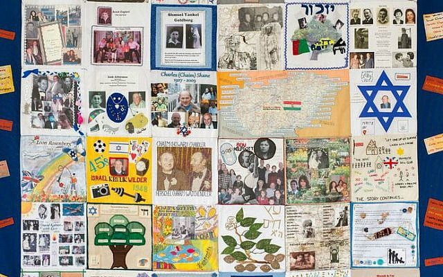 One of four Holocaust memory quilts created by survivors on display at Jewish Museum London (Courtesy)