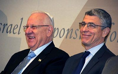 President Reuven Rivlin and Rabbi Rick Jacobs, the head of the Union for Reform Judaism, attend a meeting of American Jewish religious leaders in New York, Dec. 11, 2015. (Courtesy of the Union for Reform Judaism)