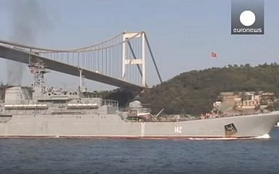 Illustrative: A Russian navy warship passing through the Bosphorus strait. (YouTube/euronews)