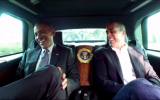 Comedian Jerry Seinfeld and US President Barack Obama share some laughs in an episode of Comedians in Cars getting coffee which was released on December 30, 2015.  (screen capture: YouTube)